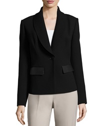 Lafayette 148 New York Contrast Trim One Button Blazer Black
