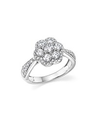Bloomingdale's Diamond Cluster Flower Ring In 14K White Gold 1.0 Ct. T.W.