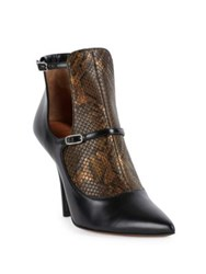 Givenchy New Feminine Line Python And Leather Cutout Booties Black Gold