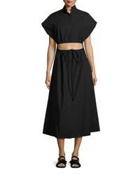 Rosie Assoulin Cutout Full Skirt Poplin Dress Black