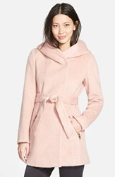 Women's Guess Hooded Shawl Collar Wrap Coat Pastel Pink