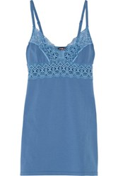 Cosabella Edith Lace Trimmed Cotton Blend Chemise Blue