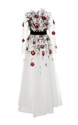 Monique Lhuillier Embellished High Low Gown White