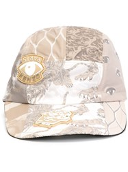 Kenzo Multi Logo Cap Nude And Neutrals