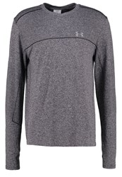 Under Armour Threadborne Long Sleeved Top Carbon Heather Black Reflective Mottled Grey