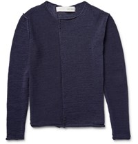 Isabel Benenato Open Knit Cotton Sweater Blue