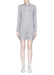 Vince Linen Blend Utility Long Sleeve Rompers Grey