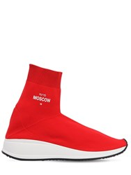 Joshua Sanders 20Mm Fly To Stretch Knit Sock Sneakers Red