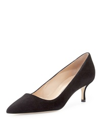 Manolo Blahnik Bb Suede Low Heel Pump Black
