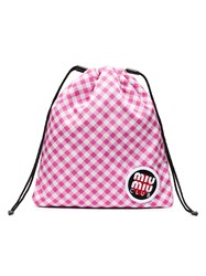 Miu Miu Pink Club Patch Gingham Pouch Pink And Purple