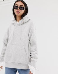 Weekday Alisa Hoodie Sweatshirt In Grey Melange