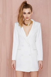 Nasty Gal Line And Dot Angelina Tuxedo Dress White