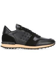 Valentino Garavani Rockstud Sneakers Calf Leather Leather Nylon Rubber Black
