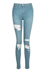 Topshop Moto Blue Super Ripped Leigh Jeans Blue