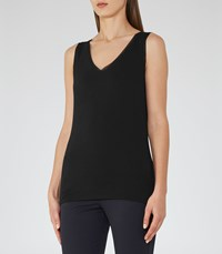Reiss Ona Womens V Neck Tank Top In Black