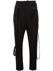 Poeme Bohemien Attached Braces Drop Crotch Trousers Black