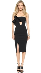 Nicholas Bonded Crepe Ruffle Dress Black