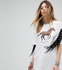 Milk It Vintage Fringe T Shirt With Horse Print White
