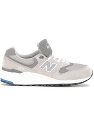 New Balance Contrast Panel Lace Up Sneakers Grey