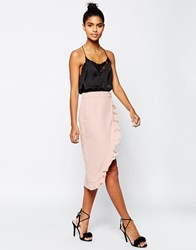 Asos Tailored Wrap Pencil Skirt With Ruffle Detail Pink
