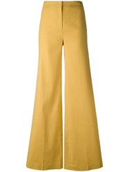 Theory Flared Trousers Women Linen Flax Spandex Elastane Viscose 8 Yellow Orange