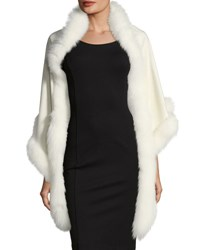 Sofia Cashmere Triangle Fox Trim Wrap Ivory