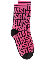 Msgm Embroidered Socks Black