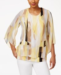 Jm Collection Printed Necklace Top Only At Macy's Yellow Shrevept Shadow