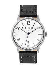 Ted Baker Mens Stainless Steel And Leather Watch Black