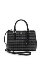 Tory Burch Robinson Perf Mini Double Zip Tote Black Birch