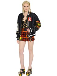 Fausto Puglisi Nylon And Leather Bomber Jacket
