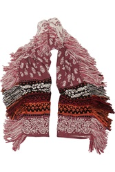 Burberry Wool Cashmere And Cotton Blend Jacquard Scarf