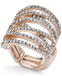 Thalia Sodi Pave Crisscross Statement Stretch Ring Only At Macy's Rose Gold