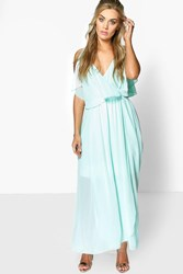 Boohoo Elle Chiffon Double Layer Maxi Dress Aqua