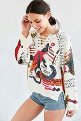 Ecote Circus Dreams Lace Up Pullover Sweater Neutral Multi