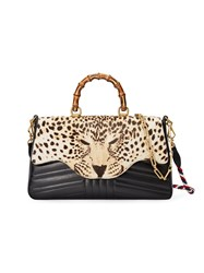 Gucci Leopard Print Top Handle Bag Women Bamboo Leather Suede Calf Hair One Size Black