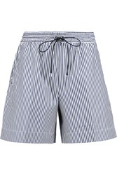 Victoria Beckham Striped Cotton Poplin Shorts Blue