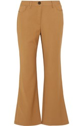 Opening Ceremony Loren Cropped Stretch Woven Flared Pants Camel