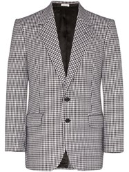 Alexander Mcqueen Single Breasted Houndstooth Blazer Black