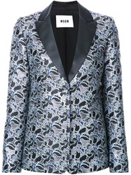 Msgm Metallic Floral Jacquard Dinner Jacket Black