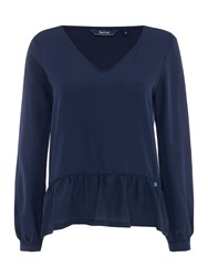 Salsa Long Sleeve V Neck Top With Ruffle Detail Blue