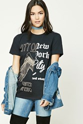 Forever 21 America Split Graphic Tee Black