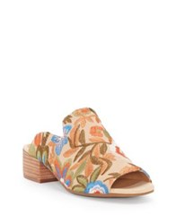 Lucky Brand Noomrie Embroidered Poppy Mules Light Beige