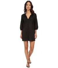Echo Ocean Eyelet Tunic Black Women's Short Sleeve Pullover