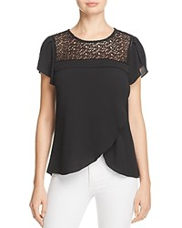 Daniel Rainn Lace Yoke Flutter Sleeve Blouse Black