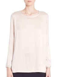 Pauw Long Sleeve Stretch Silk Blouse Blush