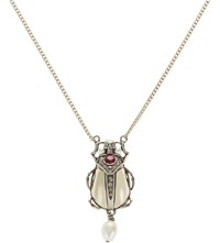 Alexander Mcqueen Beetle And Skull Necklace Silver