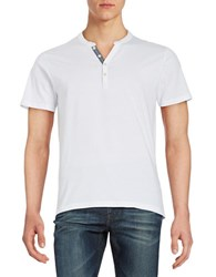 Selected Cotton Henley Tee Bright White