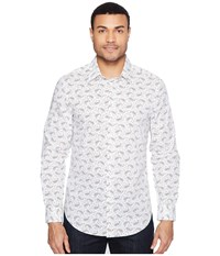 Perry Ellis Long Sleeve Multicolor Paisley Print Shirt Bright White Men's Long Sleeve Button Up