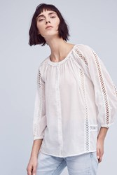 Anthropologie Marceley Lace Peasant Top White